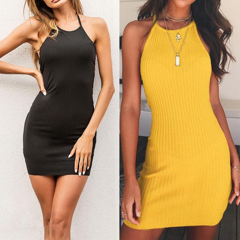 Summer Women Sexy Mini Dress Solid Color Sleeveless Halter Backless Bodycon Sheath Dresses FS99