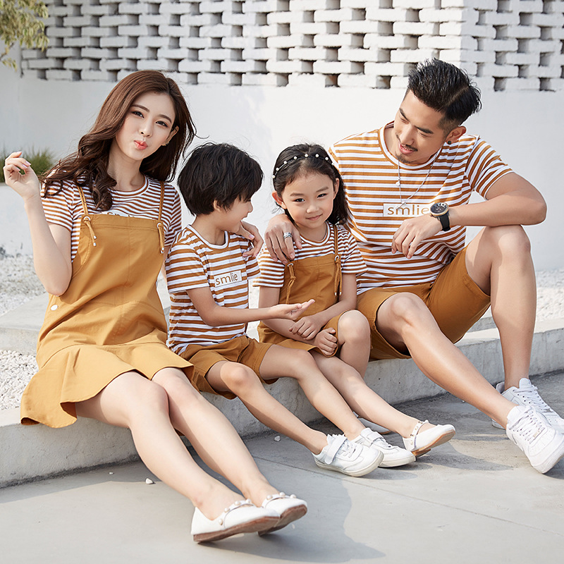 Family Matching Clothes Set Kids Girls Strap Dress Children Casual Clothing Sets Kids Striped Cotton T Shirt Family Clothing Set