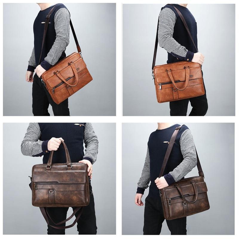 JEEP BULUO Men Briefcase Bag High Quality Business Famous Brand Leather Shoulder Messenger Bags Office Handbag 14 inch Laptop