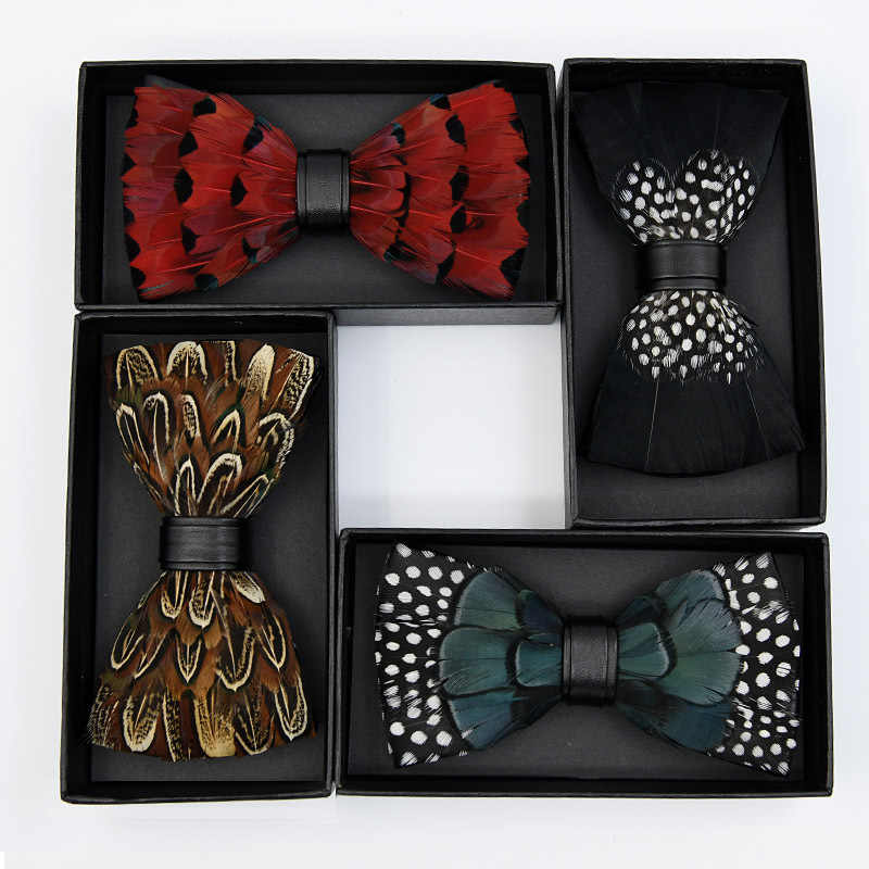 b8ea1876629b High-quality Fashion Clothing Accessories Handmade Unique Design Animal  Feather Bow Ties Peacock Feather Bowties