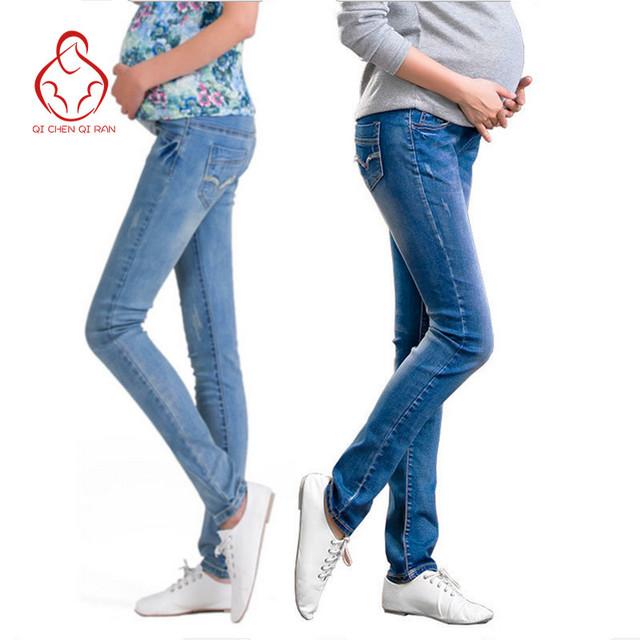 Cintura elástica calças de Brim de Maternidade Calças Para Roupas de Gravidez Para As Mulheres Grávidas Legging Maternidade grávida Primavera/Outono 2017