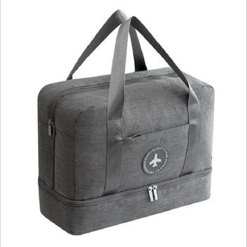 Купить со скидкой Men's fashion travel bag fashion gray waterproof clothing dry and wet separation sports gym bag