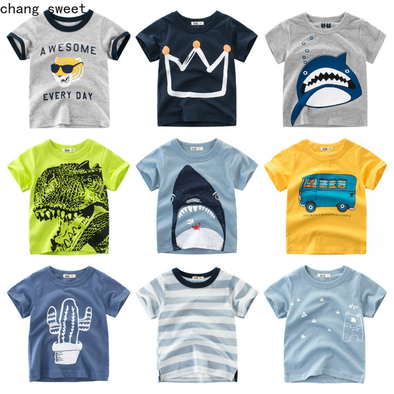 Kid Girls Shirts Short Sleeve T-Shirt Kids Boys T Shirt Crown Print Baby Cotton Children's T-Shirt O-Neck Tee Tops Boy Clothes