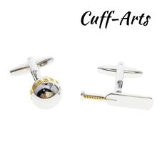 Cufflinks for Mens Cricket Bat & Ball Sport Two Tone Shirt Cuff links Bijoux Homme Bouton De Manchette by Cuffarts C10216(China)