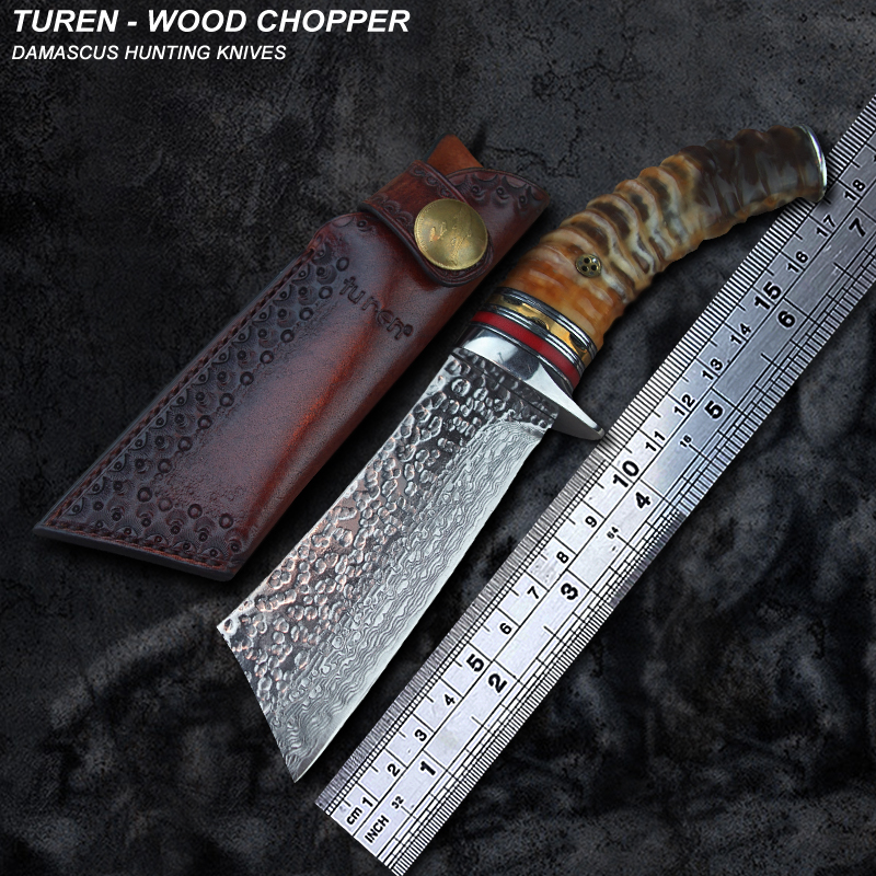 TUREN Wood Chopper 60 HRC Handmade Damascus hunting straight knife wild ram s horn handle with