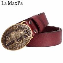 купить La MaxPa Men fashion belt pig pattern buckle genuine leather belt pig skin Wild boar Jeans belt for men gift по цене 767.65 рублей
