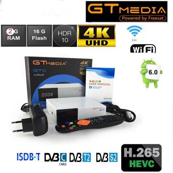 gtmedia gtc dvb t2 4k Satellite Receiver gtmedia android DVB-S2 dvb-t2 dvb-c ISDB-T Amlogic S905D android6.0 2g 16g vs kii pro oriel 415d dvb t2 c