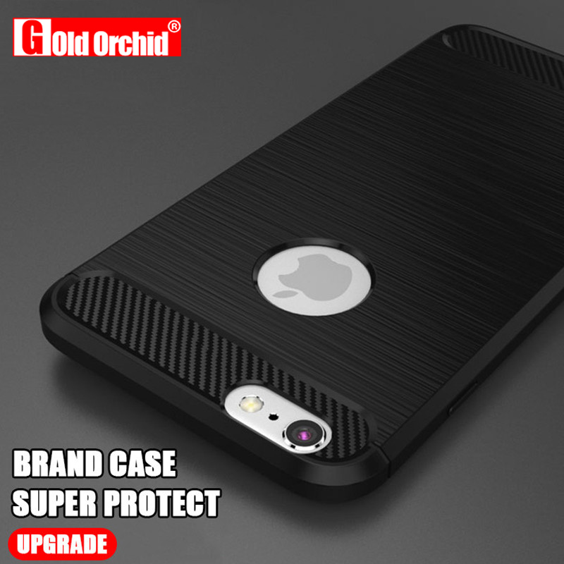 Gold Orchid Carbon Fiber Phone Cases For iPhone 6 Case 6s Plus 5 5s Cases Soft Anti-Knock Cover For iPhone 7 Case 7 Plus Capa