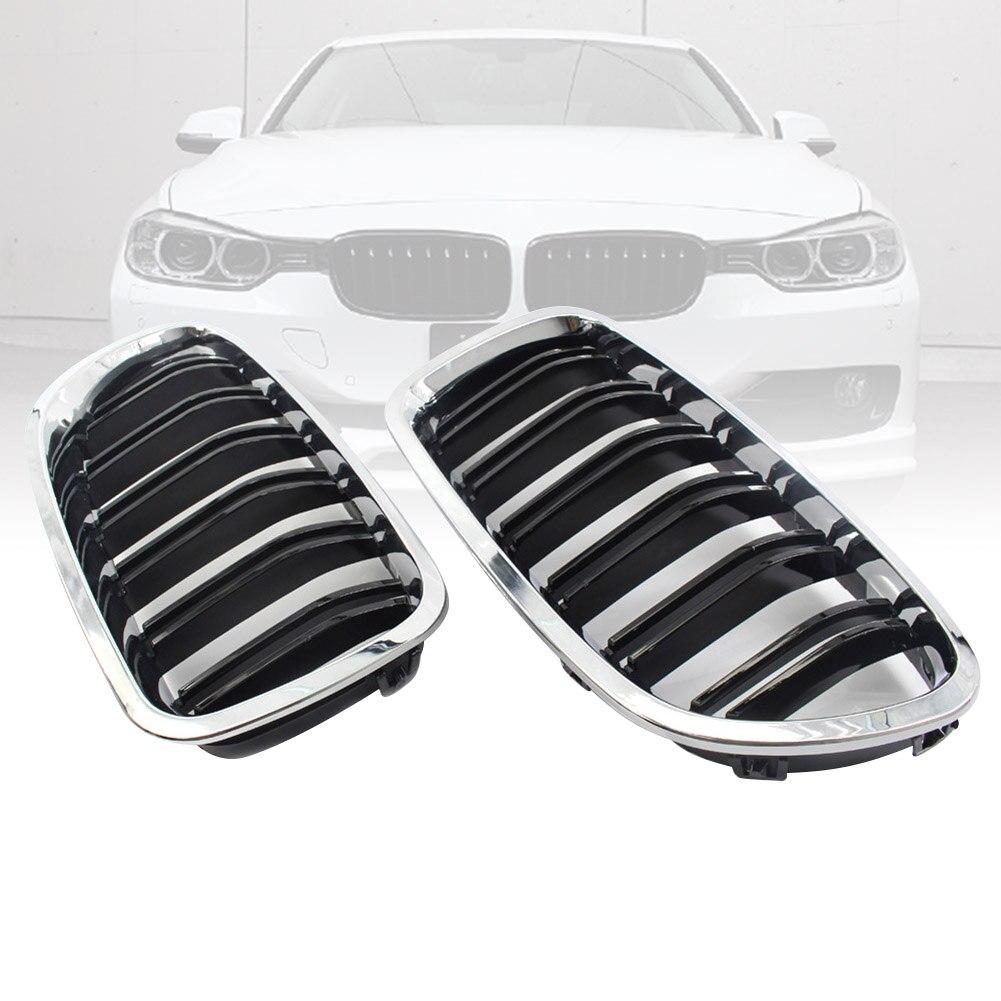 2 pcs Chrome Double Fin Avant Grille Grill Capot Nez Pour BMW F10 F11 5 2010-2015 DXY88