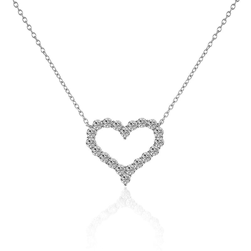 Femmes Couleur Argent Scintillant Français Cut Cubique Zircone Cristal  Forever Love Pendentif Coeur Collier Cadeau 638c83d04bc