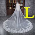 3 Meter White Ivory Cathedral Wedding Veils 300*300cm Long Lace Edge Bridal Veil Wedding Accessories Bride Mantilla Wedding Veil