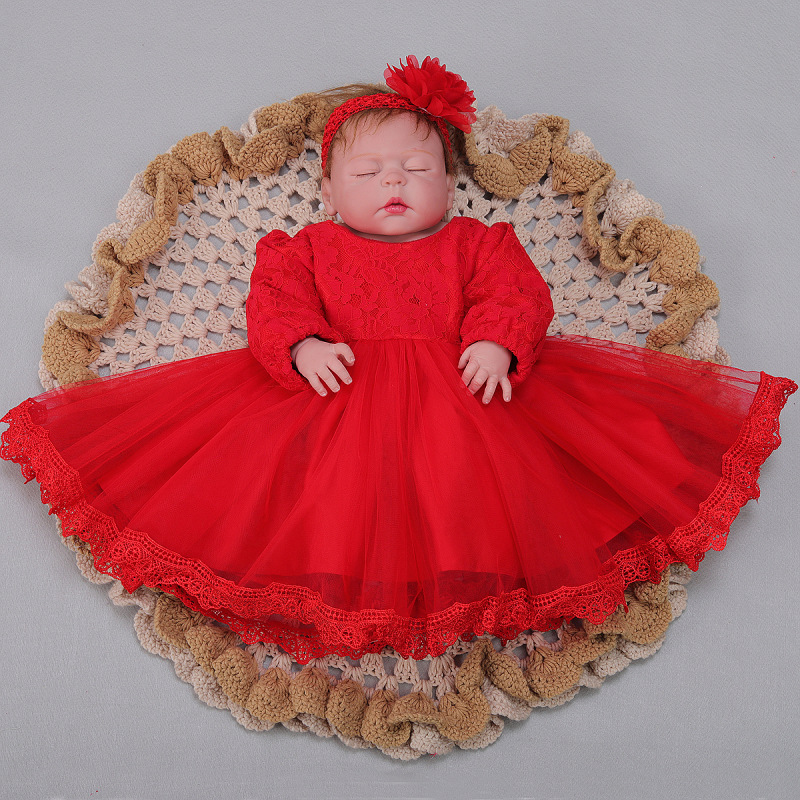 55cm Full Body Silicone Reborn Girl Baby Doll 23inch Toys Newborn Toddler Birthday red dress Child Bathe  handmade cute dolls55cm Full Body Silicone Reborn Girl Baby Doll 23inch Toys Newborn Toddler Birthday red dress Child Bathe  handmade cute dolls