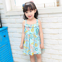 JN17151 Multi Style Super Cute Sundress Baby Girls Dresses Summer Bohemian Beach Girls Printing Fruitl Sling