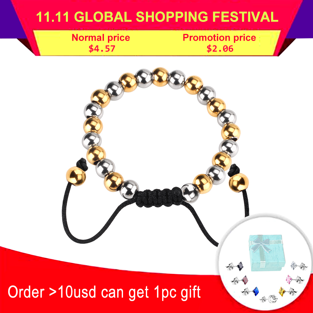LUXUSTEEL Gold Mix Silver Color Stainless Steel Ball Braiding Bracelet Bangle Fashion Jewelry Adjustable Bracelets Pulseira