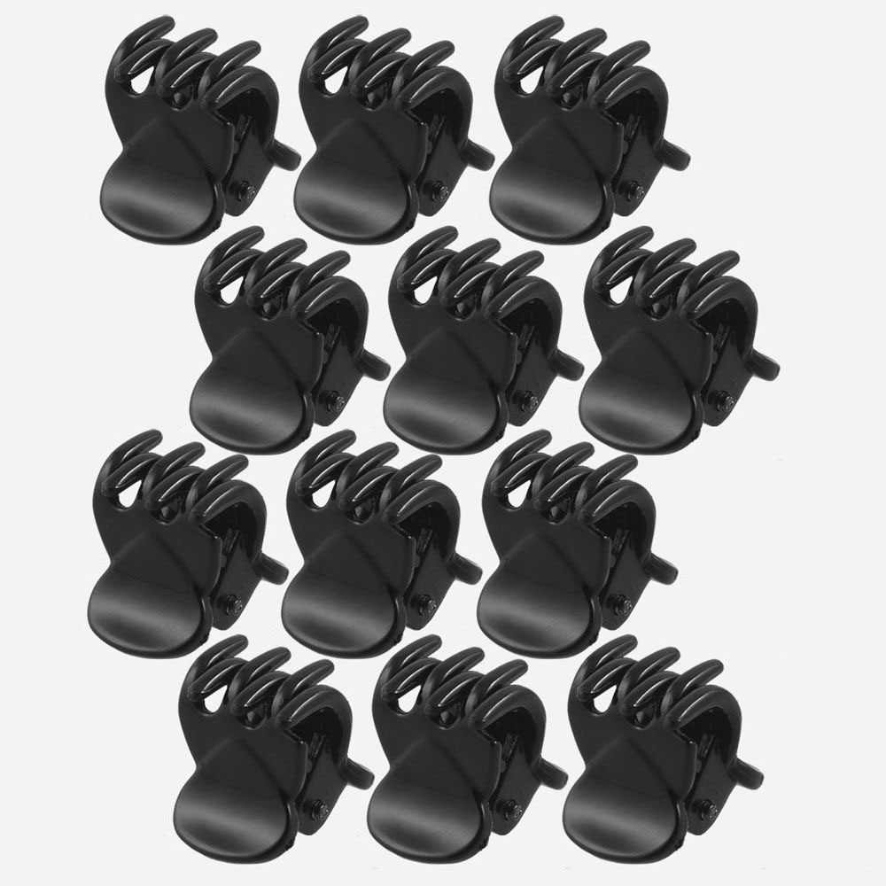 Best Sale High Quality Newest 12 Pcs Black Plastic Mini Hairpin 6 Claws Hair Clip Clamp for Ladies Barrettes Hair Accessories