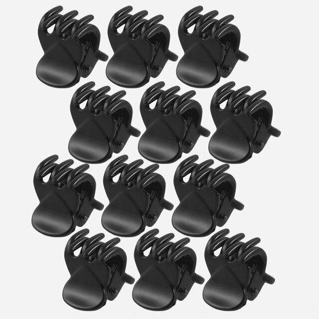Meilleure vente haute qualité plus récent 12 pièces en plastique noir Mini épingle à cheveux 6 griffes pince à cheveux pince pour dames Barrettes cheveux accessoires