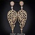 Luxo CZ diamante jóias, Banhado a ouro AAA + Cubic Zirconia grande água gota brincos grandes para as mulheres ( CZ193 )