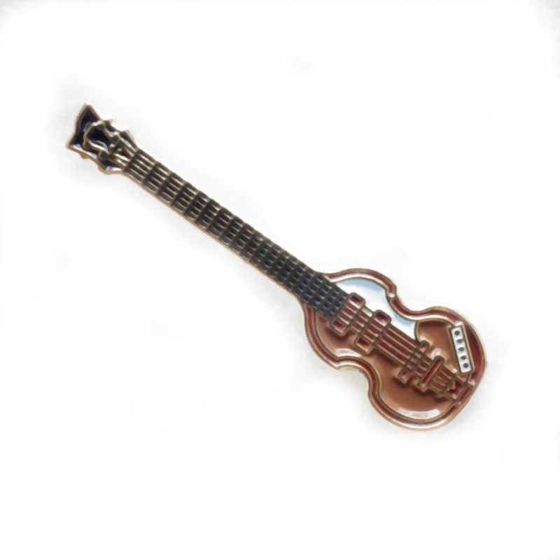 Gratis pengiriman (300 pcs/lot) 28mm Logam kerajinan unik untuk rock pop musik hadiah beatles bass hofner gitar mini pin badge
