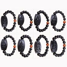 Natural obsidian carving twelve zodiac guardian bracelet couple models 10MM obsidian round beads bracelet jewelry gifts цена