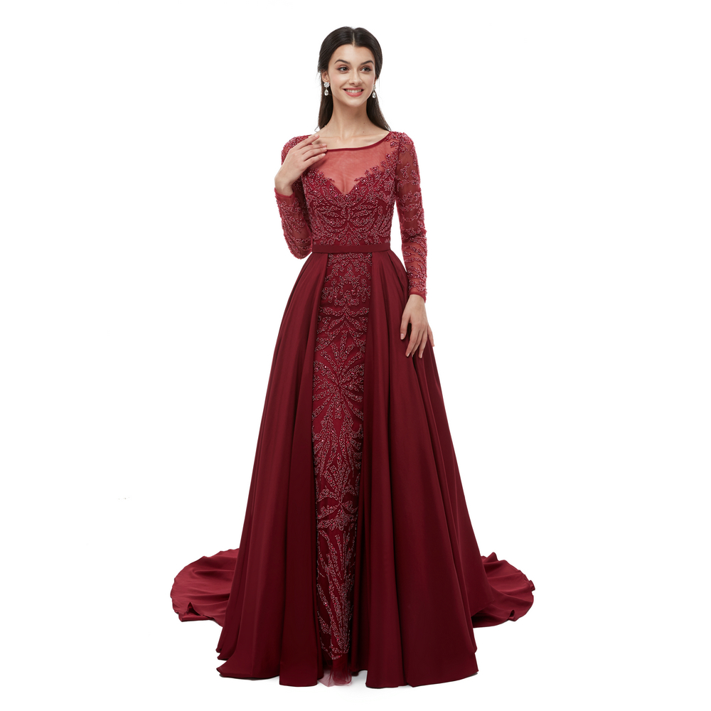 BRLMALL Long Sleeves Muslim Mermaid Sparkly   Evening     Dresses   With Train Beading Crystal Luxury   Evening   Gown 2019 Real Photo