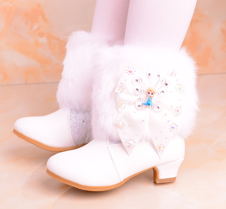 Girls Princess boots leather shoes boots 2018 new spring and autumn winter plus velvet baby children cotton boots eu 28-38 2014 new autumn and winter children s shoes ankle boots leather single boots bow princess boys and girls shoes y 451
