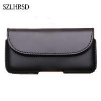 SZLHRSD Men Belt Clip Genuine Leather Pouch Waist Bag Phone Cover For Xiaomi Redmi Note 5