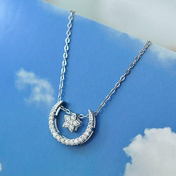Bella Mode 925 Sterling Silver Moon & Star De Mariée Collier Effacer Cubique pendentif en zircon Collier Parti Bijoux 4 Styles de Port