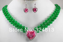 Pretty 2 rows green & red jade necklace inlaid crystal pendant earrings set(China)