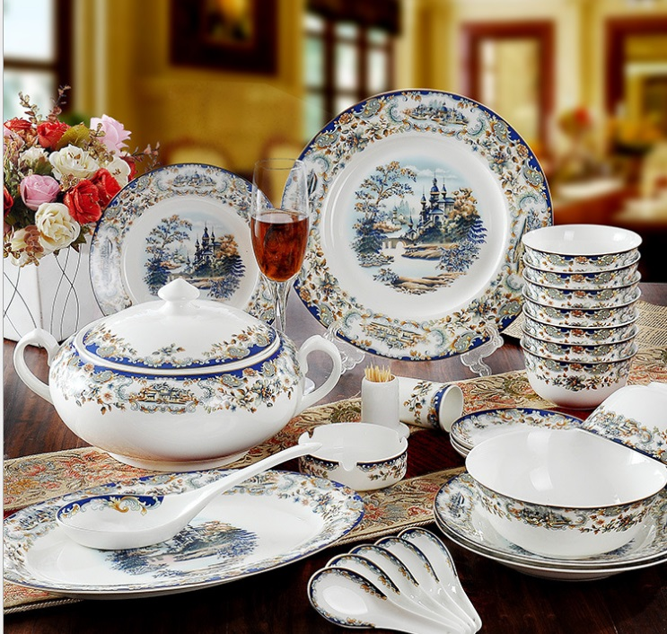 Guci Tableware glaze Jingdezhen 56 PIECES bone china tableware sets Edinburgh wedding gifts