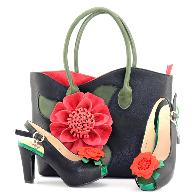 3b1a0c25c3ce0c Chaussures Les De Red Pour f1 Ensemble Blanc V8281 À Et Mode Sac Fleur  Africaines Assorties Grand Couleur Main Femmes ...