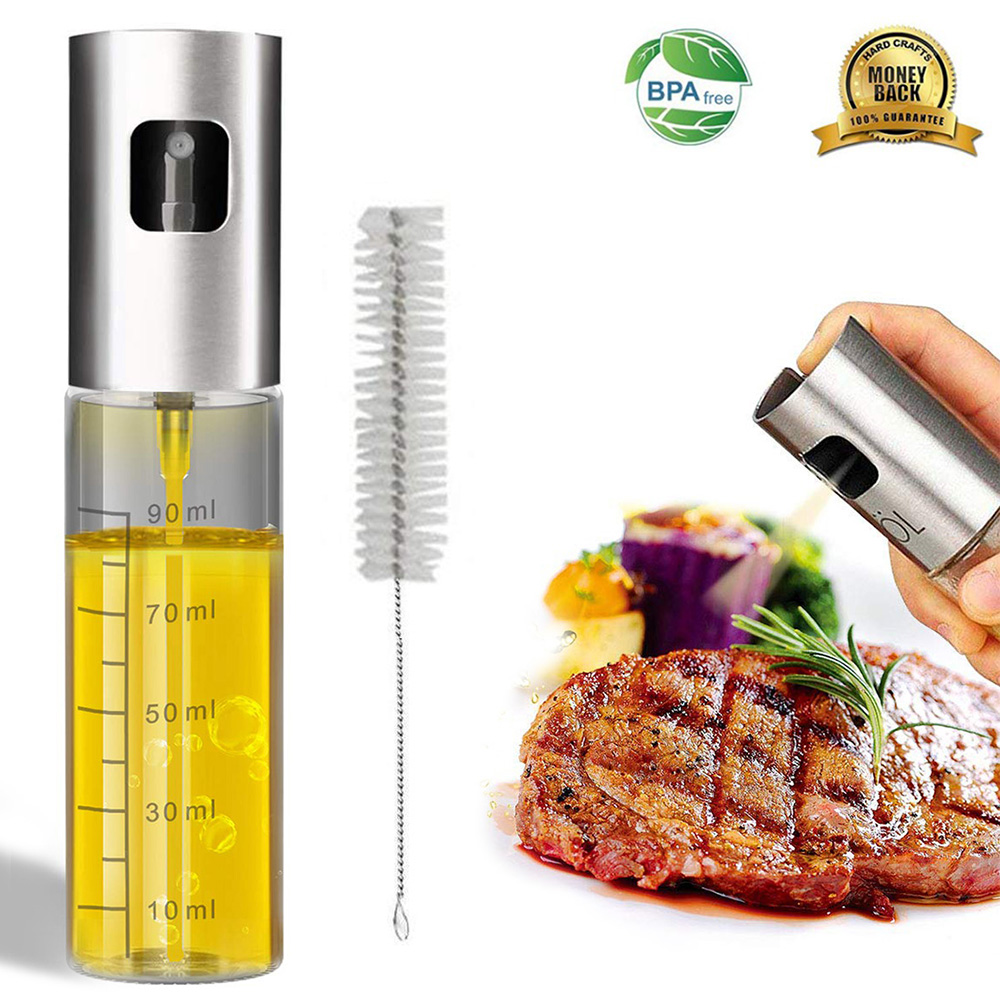 100ml Glass Olive Oil Sprayer Empty Bottle Oil Dispenser with cleaning brush for Cooking Salad Picnic BBQ Kitchen Baking tools image
