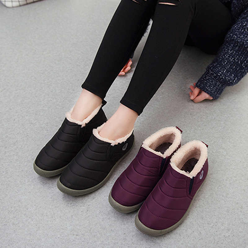 Большие размеры 35-44, плюшевая женская обувь, зимние сапоги унисекс, Теплые повседневные сапоги на меху, женская зимняя обувь без шнуровки, WSH3139