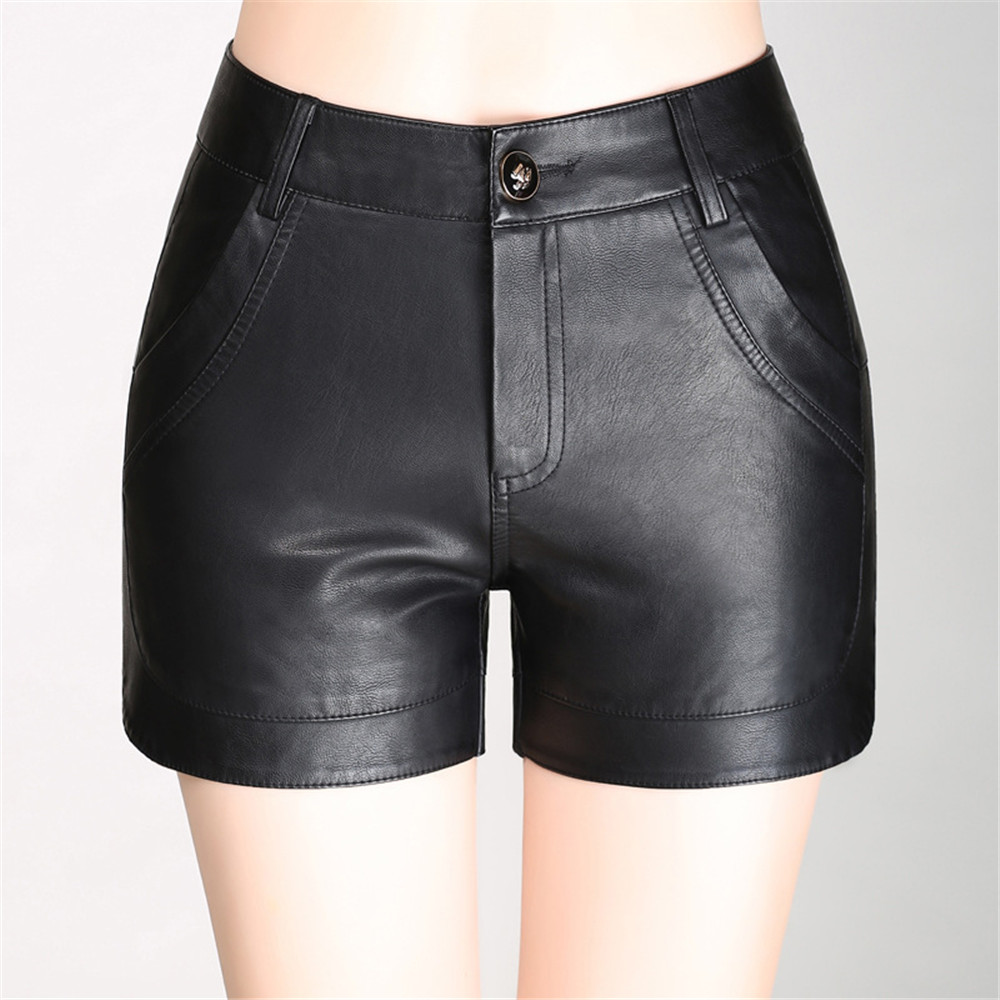 Popular Black Leather Shorts Women-Buy Cheap Black Leather Shorts ...
