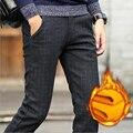 Осень и зима мужские случайные штаны теплые брюки прямые тонкий плед брюки мужчины толстые разделе плюс бархат бизнес стиль брюки