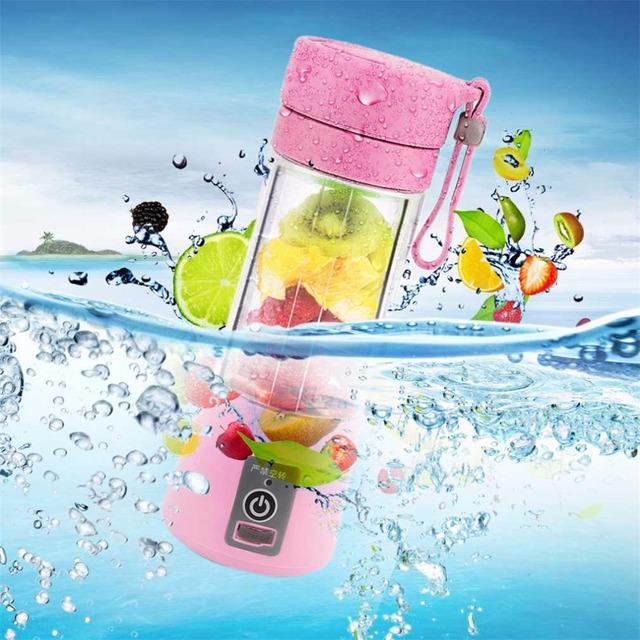 4 Colors 380ml USB Electric Fruit Juicer Handheld Smoothie Maker Blender Rechargeable Mini Portable Juice Cup Water Bottle