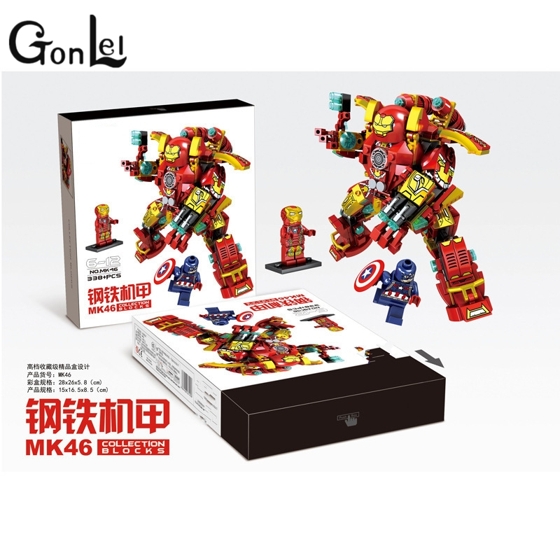 GonLeI Super Heroes Marvel SY MK38 MK46 MK1 Captain America Armor Iron Man Mark38 Hulkbuster Building Blocks Brick lepin Toy marvel super heroes avengers wonda iron man mk anti hulkbuster thor vision ultron assemble building blocks minifig kids toys