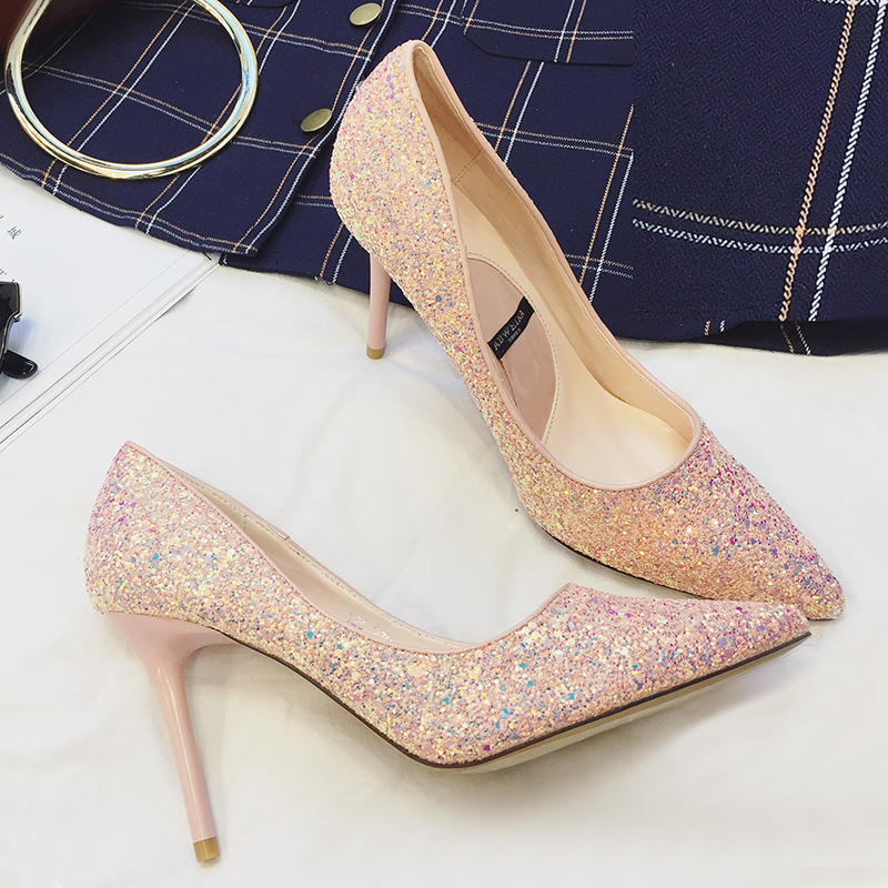 Fashion shining paillette high shoes pointed toe bridal shoes bridesmaid shoes 9cm heel shallow mouth sexy single shoes