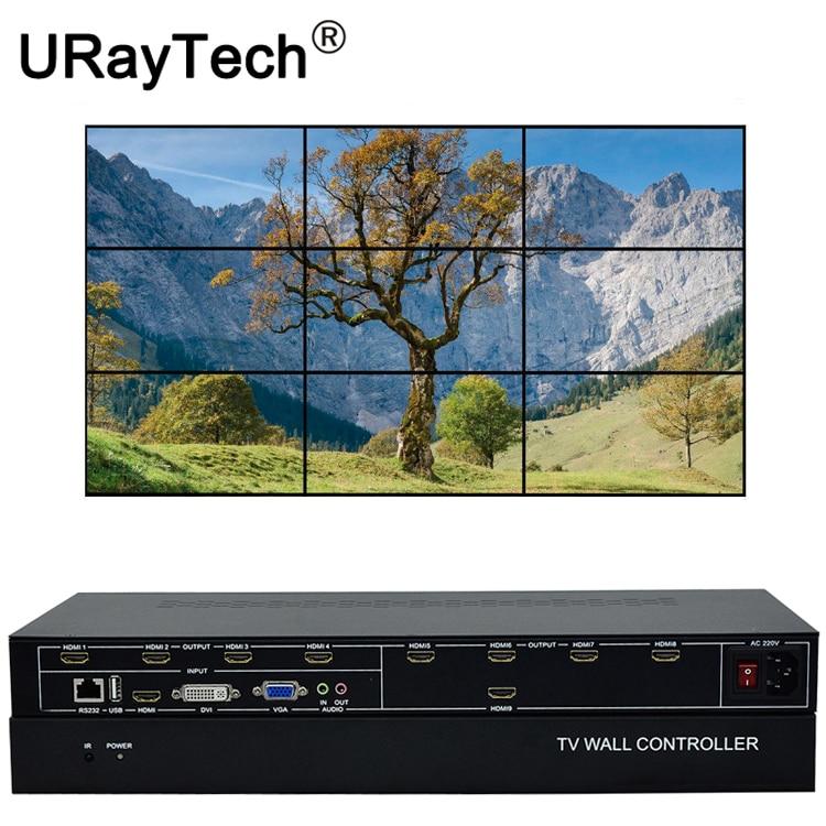 9 Channel TV Video Wall Controller 3x3 2x4 4x2 HDMI DVI VGA USB Video Processor Splitter TV Splicing Box