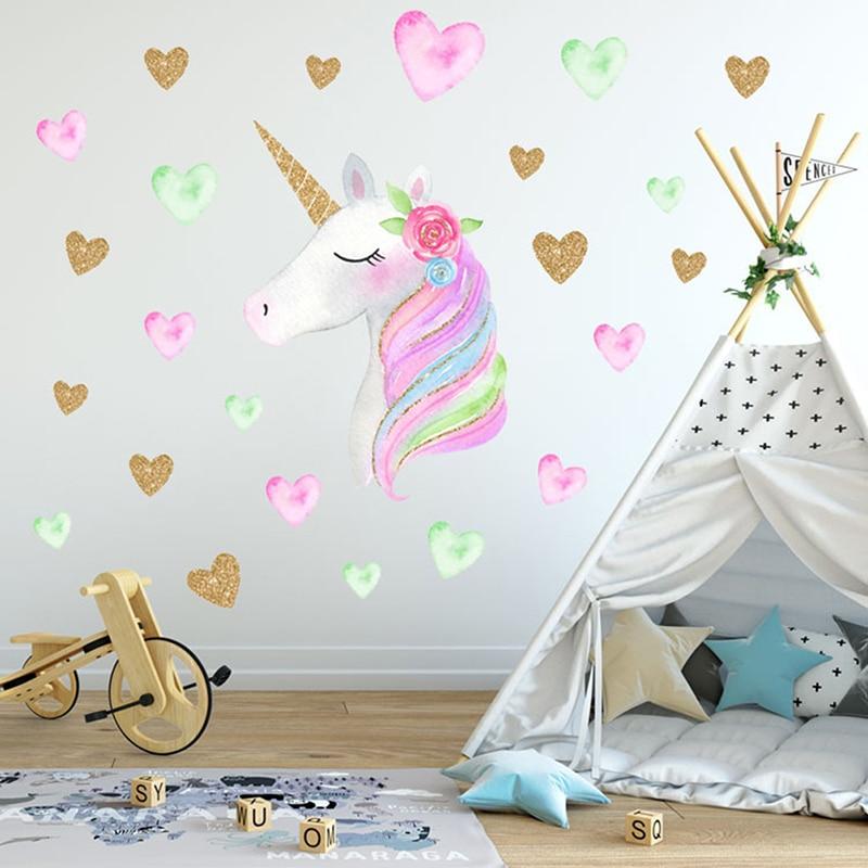 Us 2 86 27 Off 2styles Cartoon Cute Unicorns Star Heart Wallpaper Diy Vinyl Home Wall Decals Kids Living Room Bedroom Girls Room Decor In Wallpapers