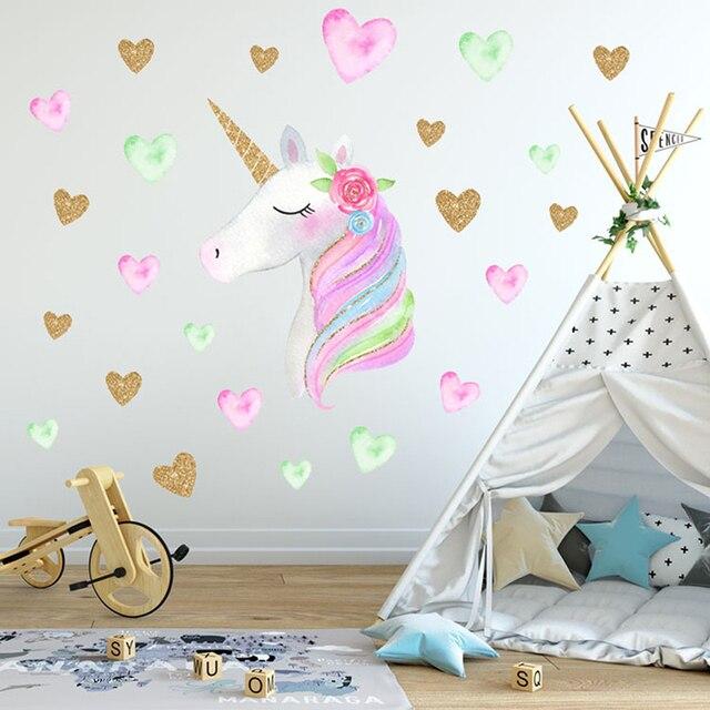 2Styles Cartoon Cute Unicorns Star Heart Wallpaper DIY Vinyl Home Wall Decals Kids Living Room Bedroom