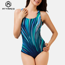 Attraco Women One Piece Swimwear Geometric Print Colorblock Swimsuit Bathing Suit Monokini Bikini