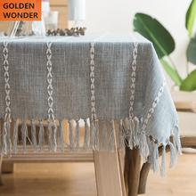Fashion Simple Modern Tablecloth Cotton And Linen Table Cover Gray Beige Lattice Pattern