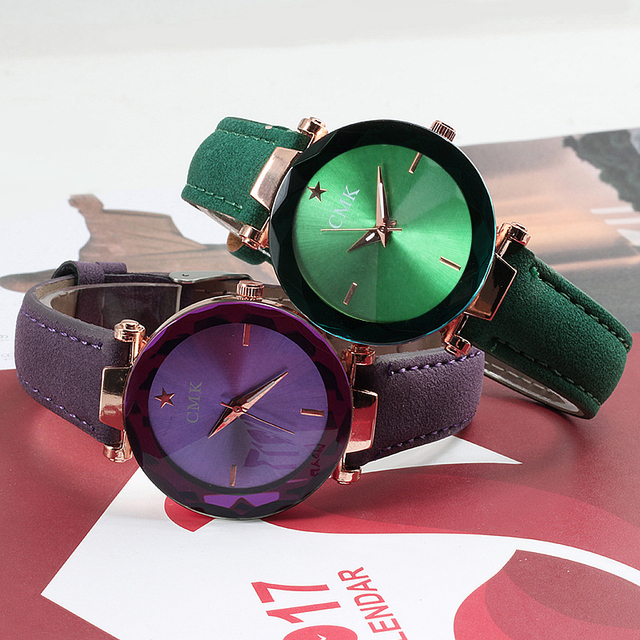 CMK New Simple Fashion Shiny Women Watches Luxury Leather Strap Ladies Casual Qu