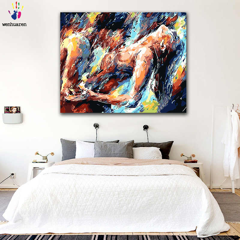 DIY colorings pictures by numbers with colors Passionate couple abstract picture drawing painting by numbers framed Home