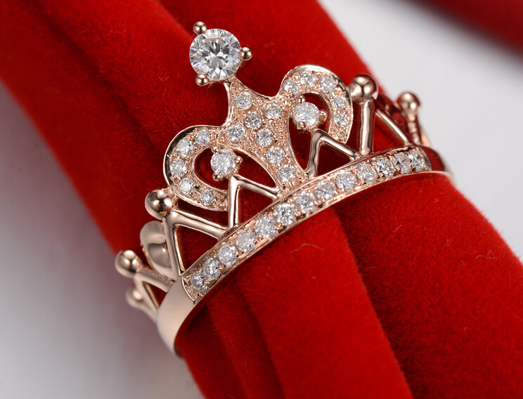 Royal Crown Mount Gold 14K Female Wedding Ring Genuine Gold 14K