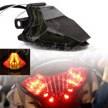 Smoke Lens Motorcycle LED Integrated Brake Stop Warning Turn Signals Taillight Red+Amber Tail Light For Yamaha R3 R25 MT07 13-15
