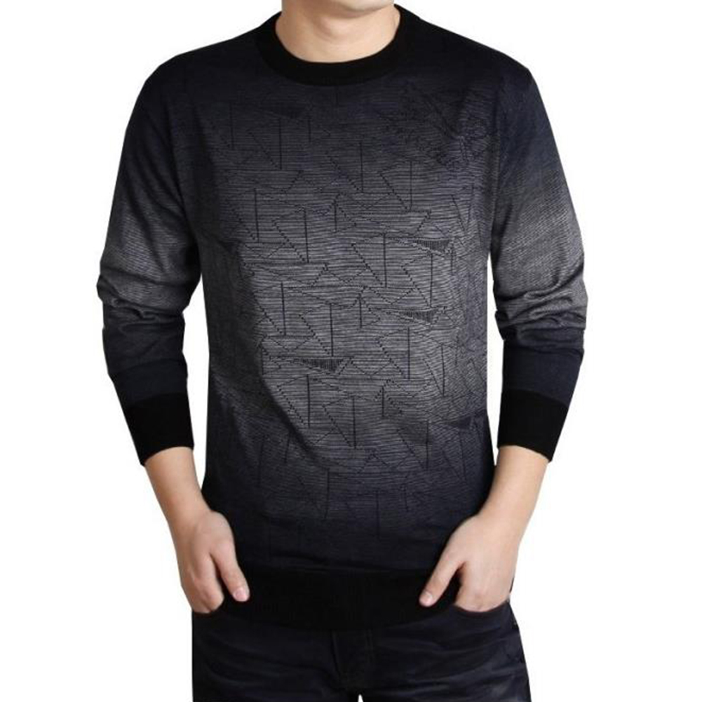 Mens Autumn Casual Triangle Ombre Woolen Blend Pullover Crew Neck Sweater Top
