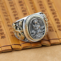 NEW 925 Silver Guanyin Buddha Ring Male Ring Vintage Thailand Silver Kuanyin Bodhisattva Ring Avalokitesvara Buddha Ring