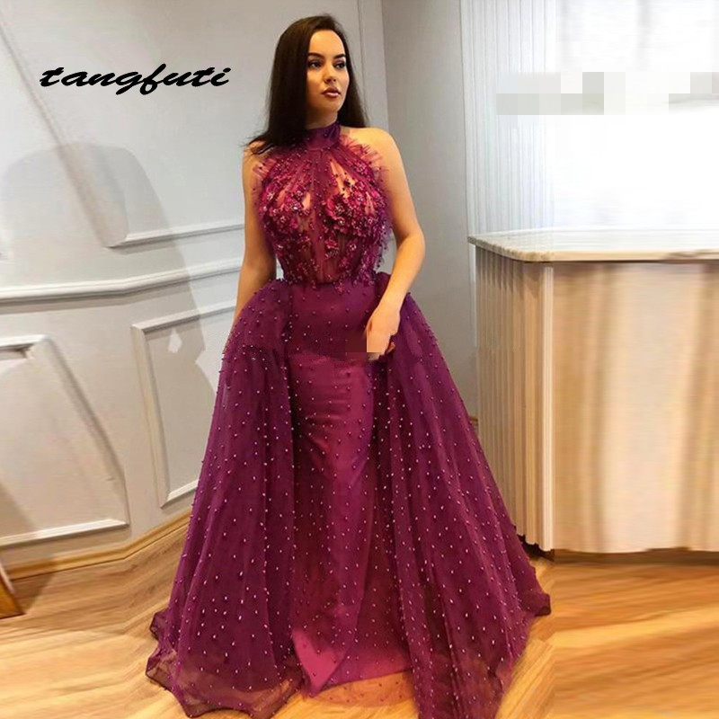 Evening     Dresses   Party Mermaid Halter Flowers Beaded See Through Tulle Dubai Saudi Arabic Long Formal   Evening   Prom Gown   Dress