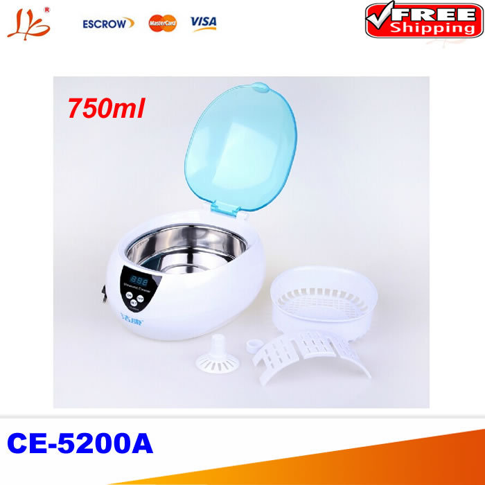 CE-5200A Digital Ultrasonic cleaner cleaning machine Jewelry Glasses Watch CD DVD 50W 220V 750ml